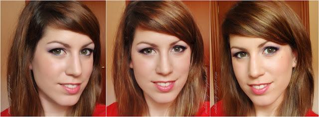 rubibeauty makeup maquillaje paso step by step morado violeta rosa pink lentillas