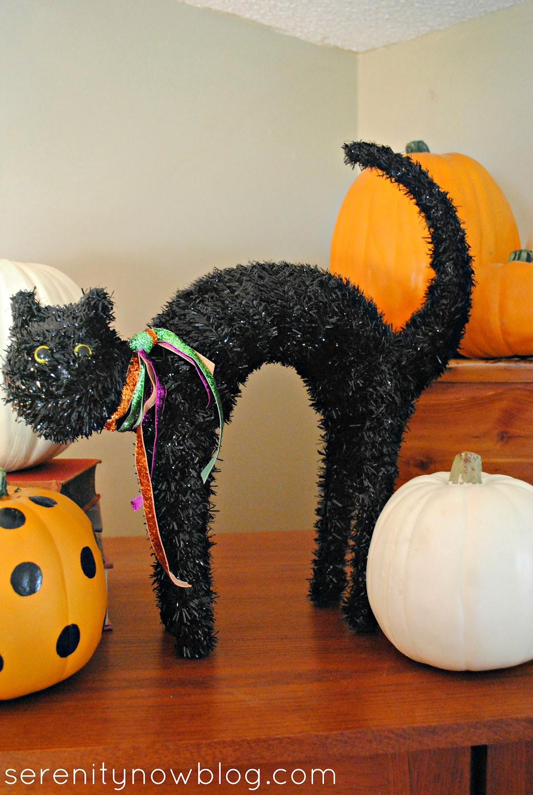 halloween decorations black tinsel cat from serenity now - Black Cat Halloween Decorations