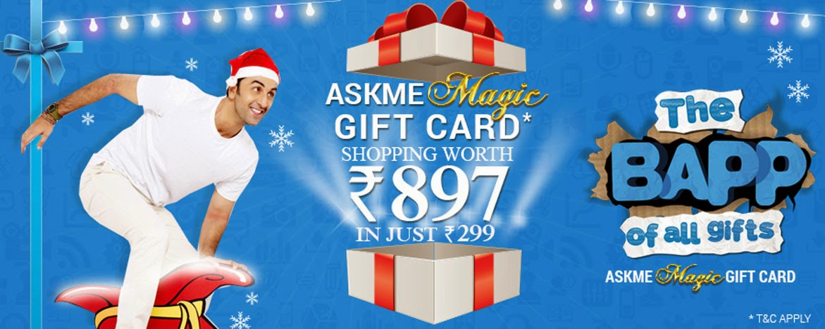 Askmebazaar Magic Gift Card worth Rs 897 for only Rs 299