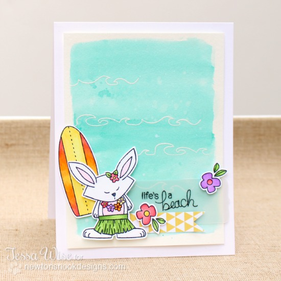 Hula bunny beach card by Tessa Wise for Newton's Nook Designs | Beach Party Stamp Set