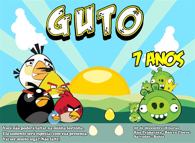 Convite de Aniversário Angry Birds.