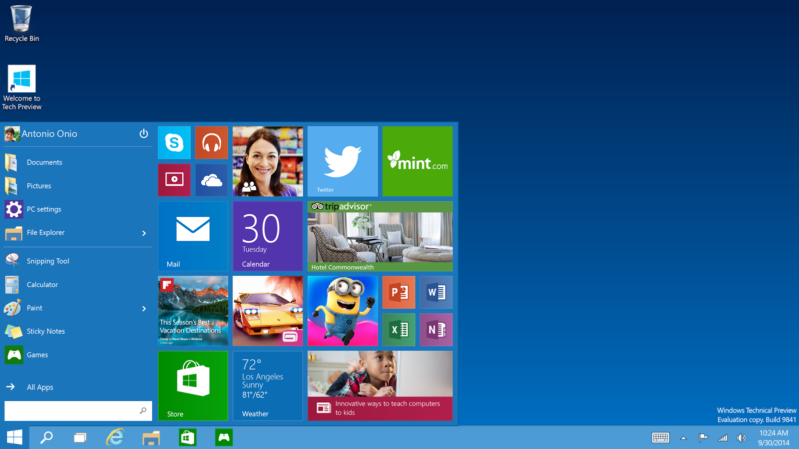 Start Menu Windows 10 Technical Preview