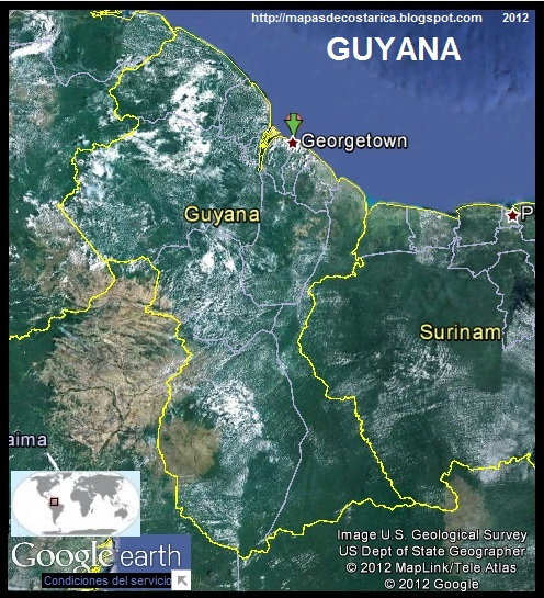 Mapa de GUYANA, Google Earth