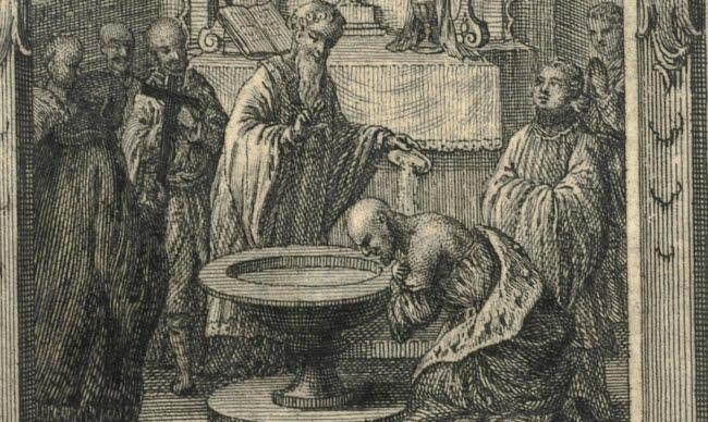 Chrzest Mieszka I Geret - domena publiczna, źródło: Biblioteka Narodowa