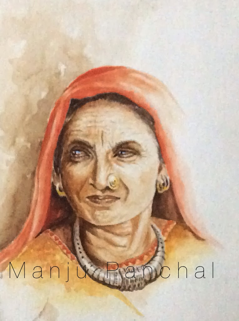 water colour painting of a portrait by Manju Panchal