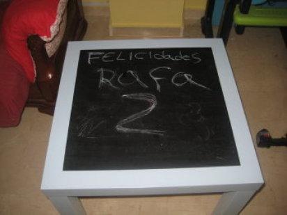 Bricolaje para transformar mesa lack de ikea en mesa pizarra para la habitación de los niños