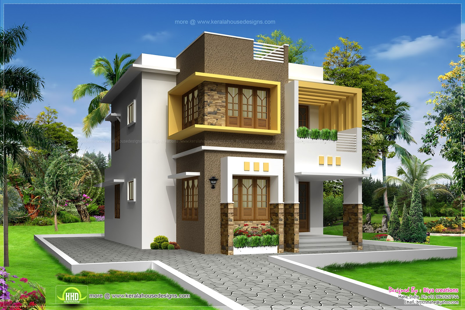Small double storied contemporary house design kerala for Home design double floor