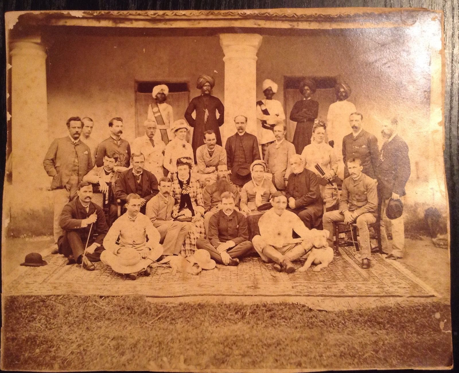 Group Photo of Europeans with Indian Servants - Date Unknown