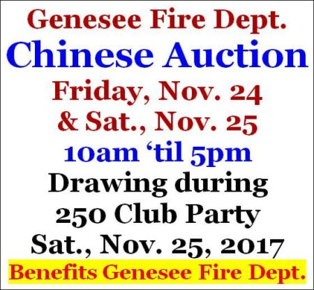 11-24/25 Chinese Auction, Genesee VFD