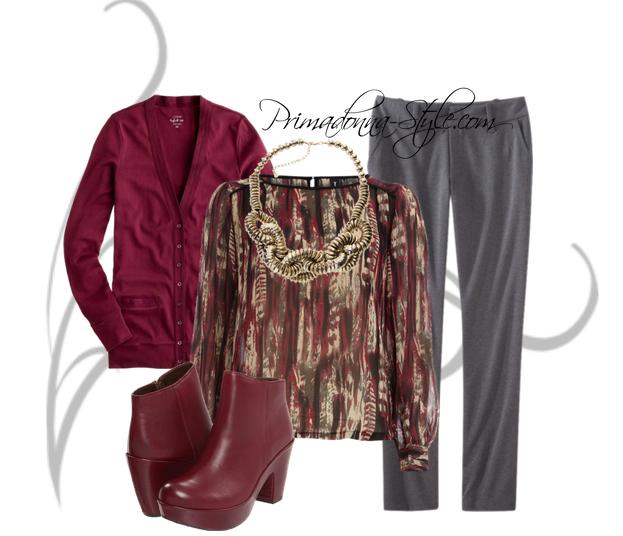 Burgundy cardigan, burgundy top, ponte pante, burgundy boots