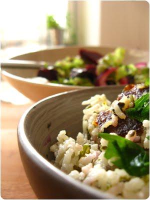 Sabzi Polo und Rote Bete Salat mit Orangen und Oliven