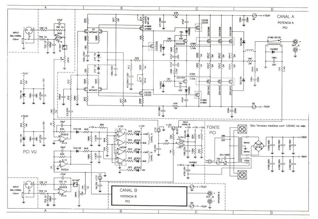 STANER - PA4000 - AMPLIFICADOR - 800WRMS - SCHEMATIC DIAGRAM ...
