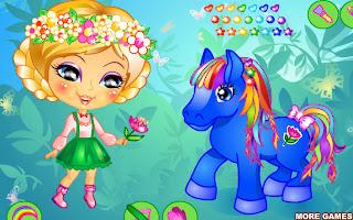 Juego de vestir a la niña y su pequeño pony
