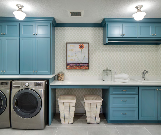 A Long Rod Above The Sink And Liances Makes Hanging Up Clothes In This Streamlined Laundry Room Breeze