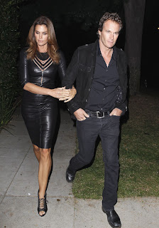 Cindy Crawford  black leather dress