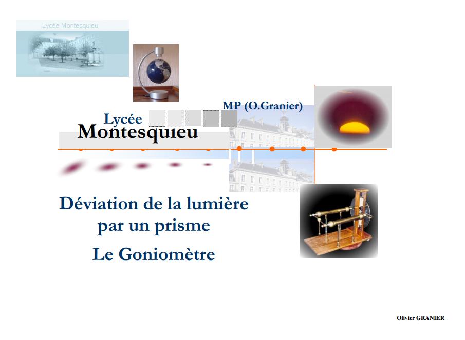 Cours Optique Géométrique Déviation de la lumière par un prisme - Le Goniomètre