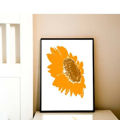 indira albert folksy handmade artist sunflower yellow orange print art
