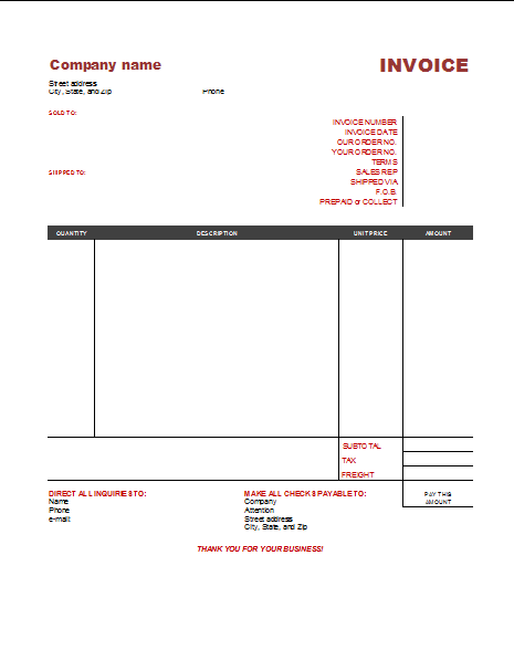 Document Templates FREE COMMERCIAL INVOICE TEMPLATE EXCEL – Taxi Bill Format in Word