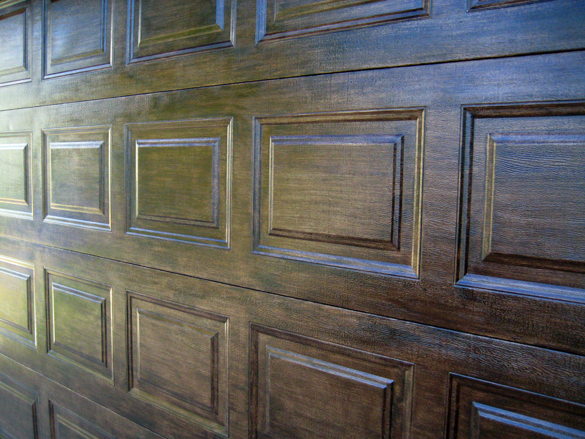 Faux wood doors love paper paint Garage door faux wood