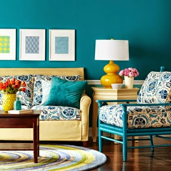 Harmonios modern living room color schemes and paint colors 2015 - Blue living room color schemes ...