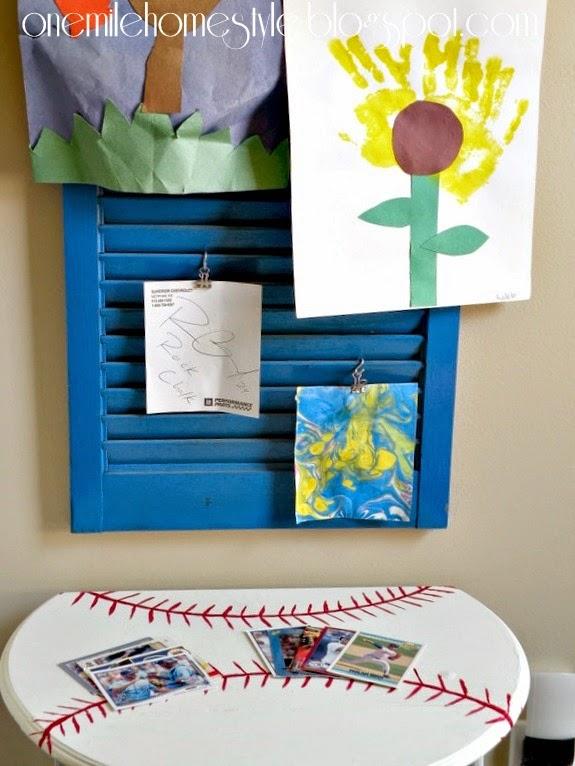 Kids room decor - baseball table and shutter art display