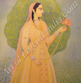 Mugal Lady With Lotus