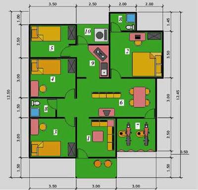 Denah Rumah Minimalis 4 Kamar Type 36 1 Lantai