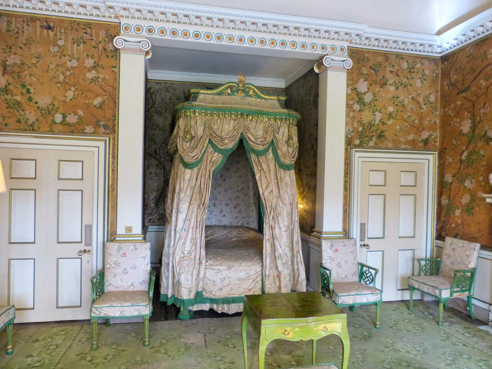 The State Dressing Room, Nostell Priory,  with green and gilt japanned chinoiserie furniture by Chippendale