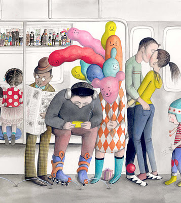 image of Sophie Blackall's illustration of subway riders