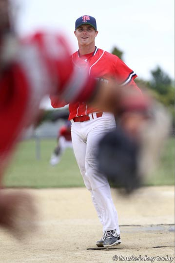 Kyle Crawford, pitcher, Pastpitch, softball vs Poneke Kilbirnie, at Akina Park, Hastings. photograph