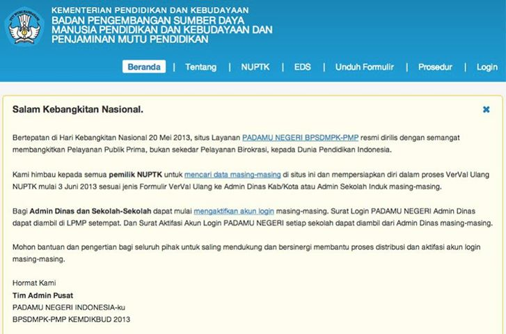 Padamu Negeri - Cara Daftar NUPTK Online di Padamu Negeri