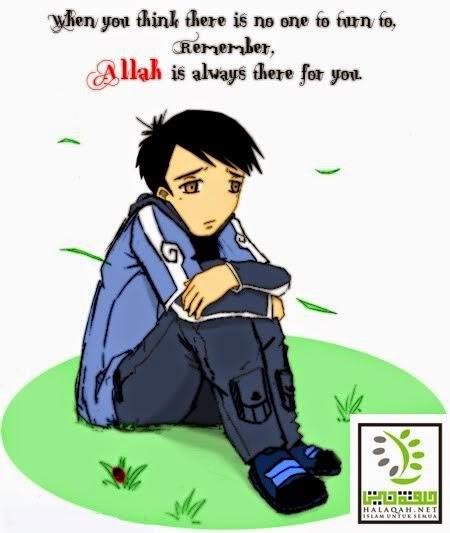 gambar Kartun  Muslim merenung
