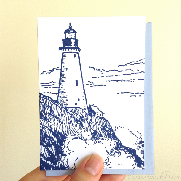 blue lighthouse note card set from Concertina Press