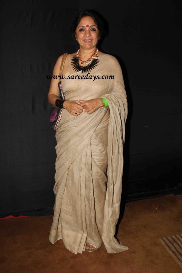 Latest saree designs neena gupta in off white designer saree checkout neena gupta in off white designer saree paired with matching sleeveless blouse altavistaventures Images