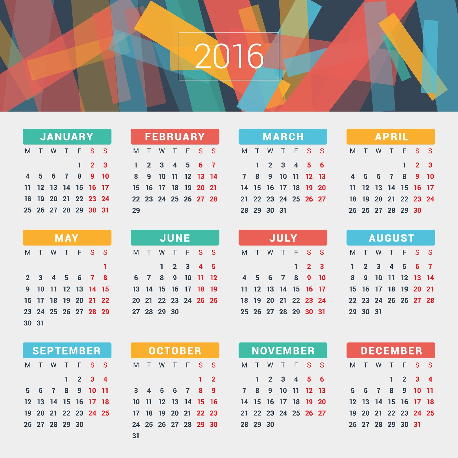 Printable Calendar 2016 for United States (PDF)
