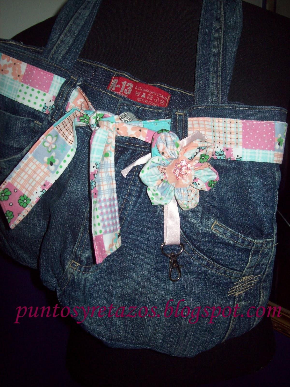 puntos y retazos bolso de jeans reciclado