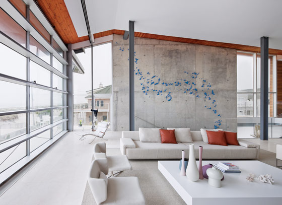 living room with the retractable wall closed