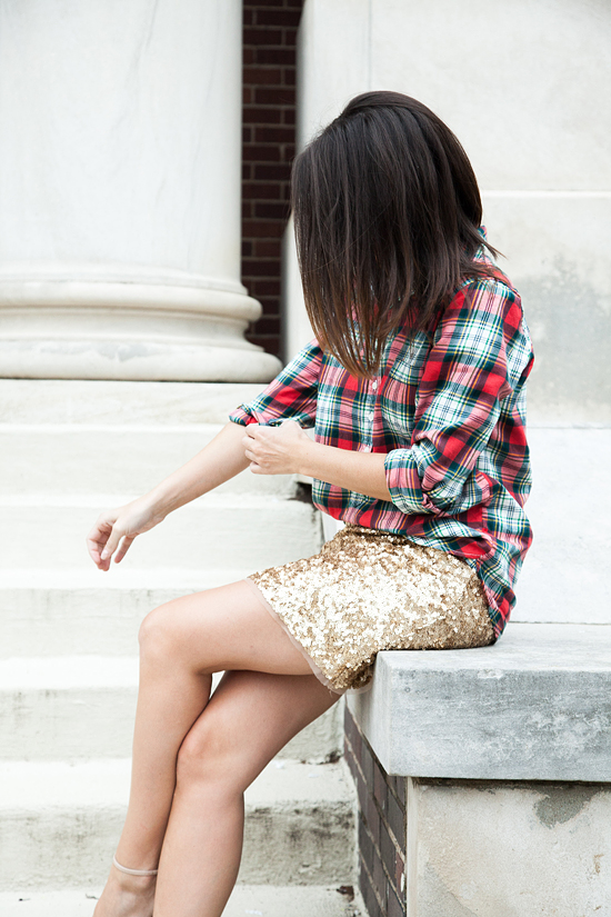 Here&Now: plaid shirt + sequin skirt
