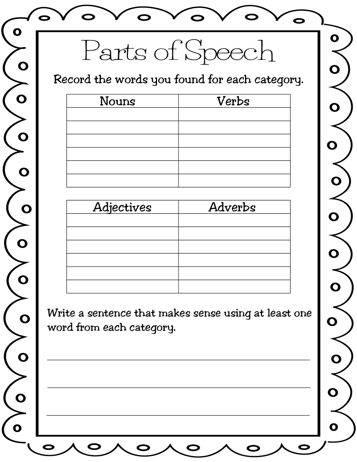 Worksheets Noun Verb Adjective Adverb Worksheet teaching mrs t parts of speech lessons thursday january 24 2013