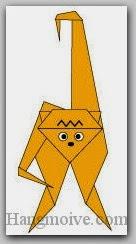 Bước 21: Vẽ mắt, mũi... để hoàn thành cách xếp con Vượn bằng giấy theo phong cách origami.