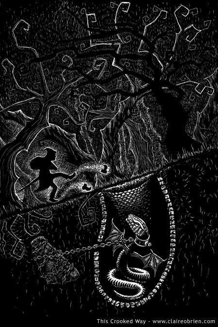 """This Crooked Way"" Scratchboard by Claire O'Brien"