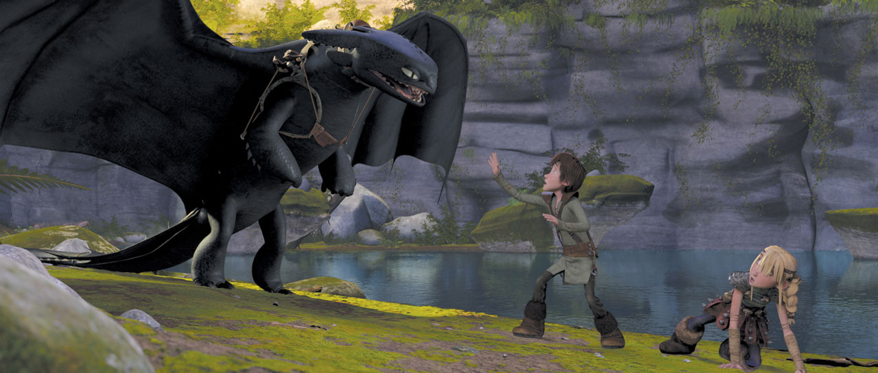 Hiccup saving a girl from a dragon in animatedfilmreviews.blogspot.com