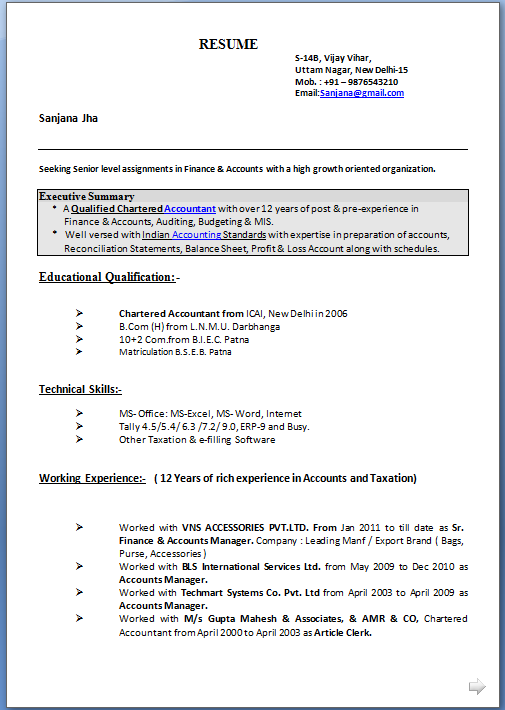 resume format for mis profile