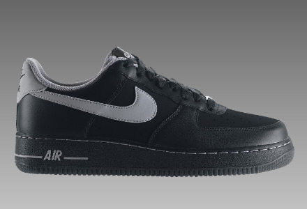 hot sales 720e2 05bf5 ... AF 1 low black leather and black nubuck mix with a grey swoosh are now  released. The tongue tab features