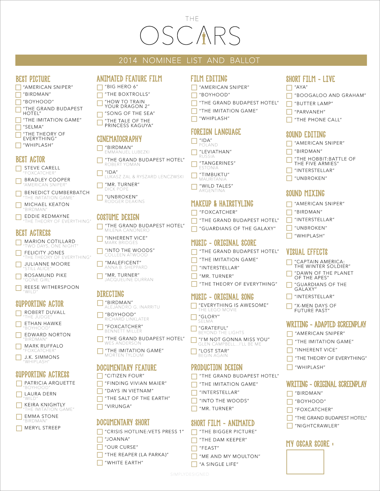 Here Are The 2015 Screen Actors Guild Award Nominees as well Eviction Notice Template Free further Holiday Printable Thank You Cards in addition Oscars 2016 Printable Best Picture Reminder List in addition Oscars 2013 Download Our Printable Ballot With Predictions. on oscar nominations 2015 printable ballot