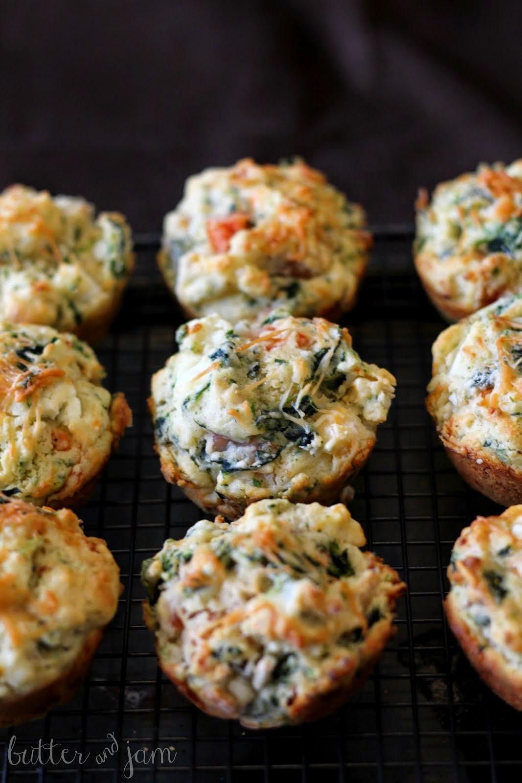 feta, spinach + ham muffins