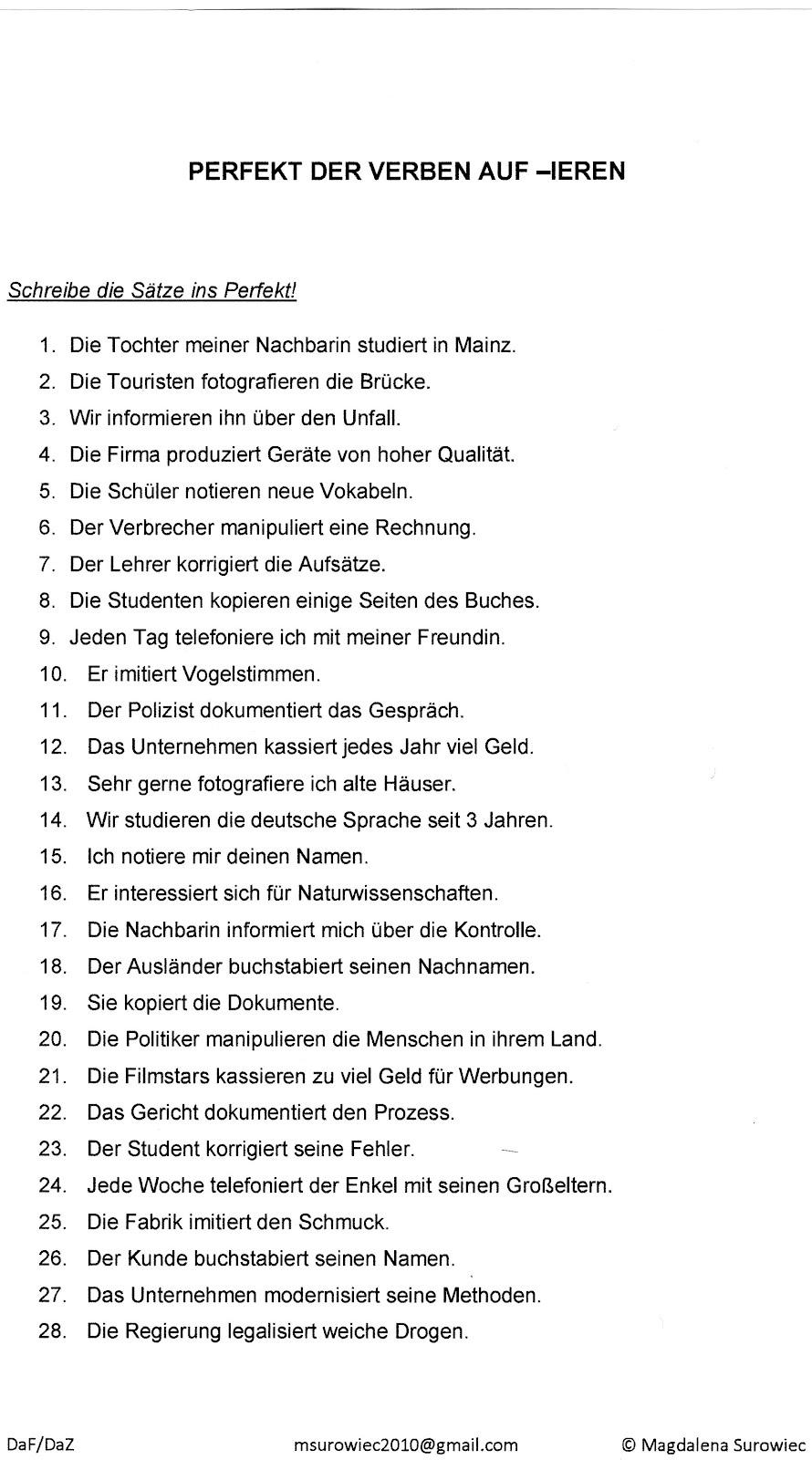 Arbeitsblatt Vorschule deutsche sätze bilden : u0026quot;Aspekte der Germanistiku0026quot;: Eine u00dcbung zum Perfekt der Verben auf -ieren