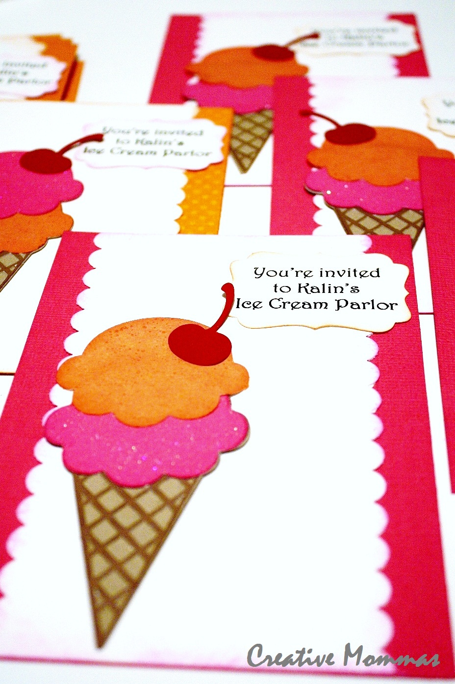 Creative Mommas: Ice Cream Parlor Party Invitations