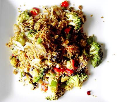 mijo y verduras salteados