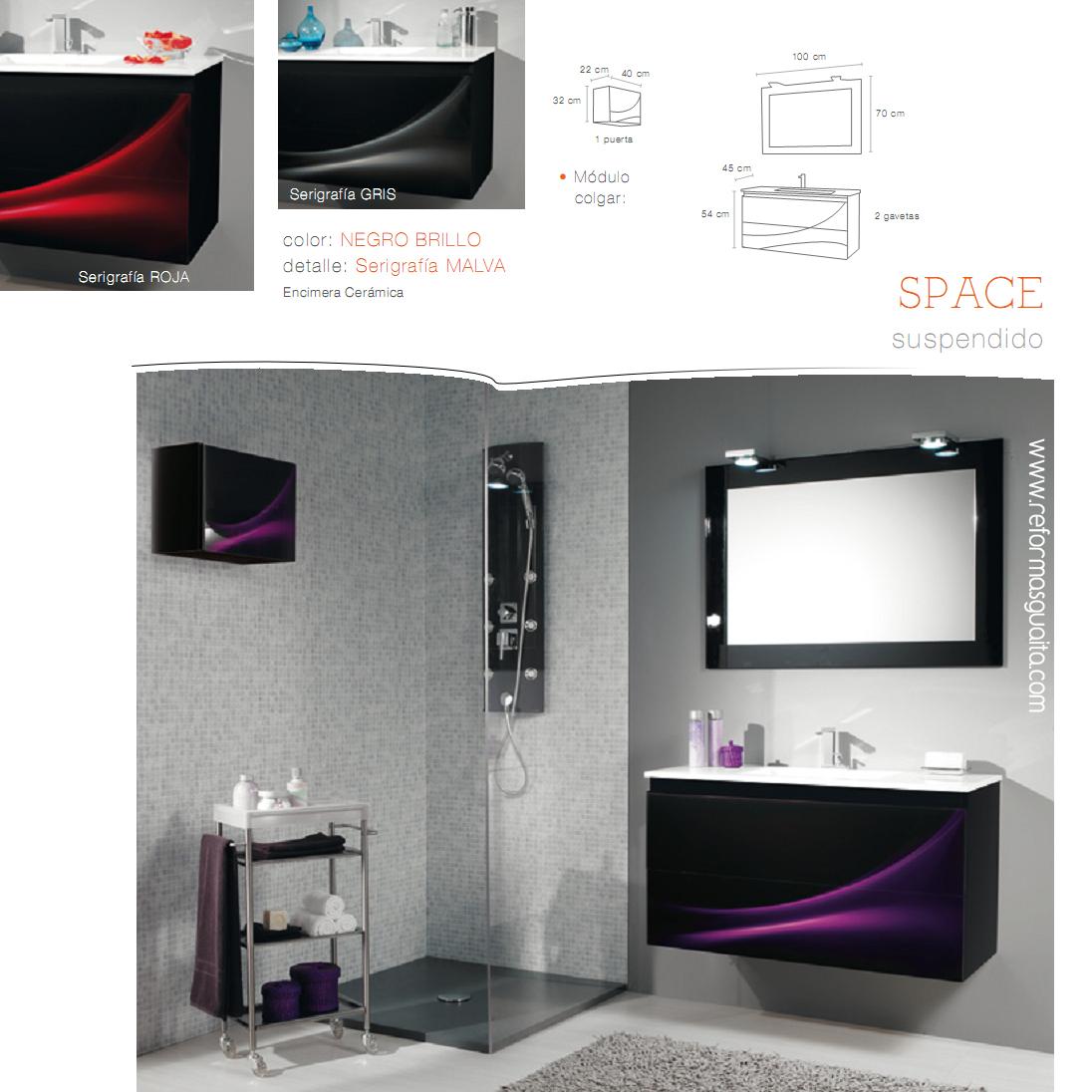 Mueble space cristal negro color y buen gusto reformas - Azulejos bano madrid ...